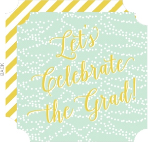 Mint And Yellow Party Lights Fill In The Blank Graduation Invitation