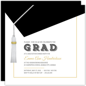 Classic And Modern Graduation Cap Invitation