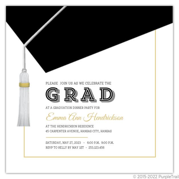 Classic And Modern Graduation Cap Invitation