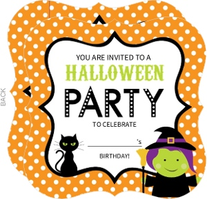 Orange Polka Dot Witch Fill In The Blank Halloween Birthday Party