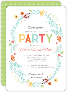 Floral Spring Frame Girl Birthday Invitation