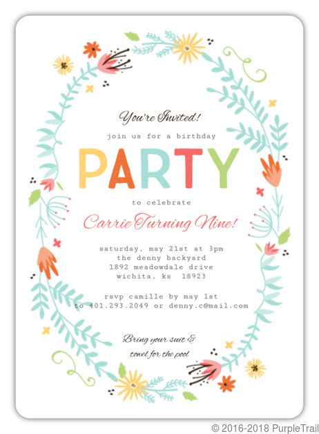 floral spring frame girl birthday invitation kids birthday invitations