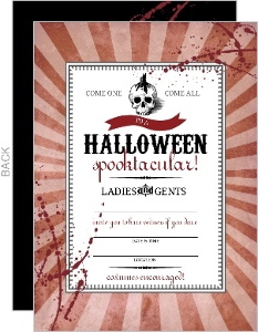 Red Steampunk Skull Fill In The Blank Halloween Party Invitation