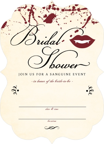 Vampire bridal shower fill in the blank halloween party for Bridal shower fill in invitations
