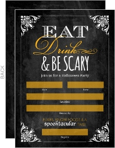 Chalkboard Vintage Frame Fill In The Blank Halloween Invitation