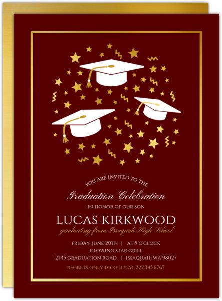 Faux Foil Stars Confetti Graduation Invitation