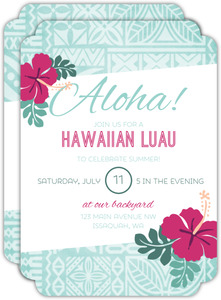 Kapa Pattern Luau Party Invitation