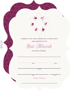 Pink Floral Star Fill In The Blank Bat Mitzvah Invitation