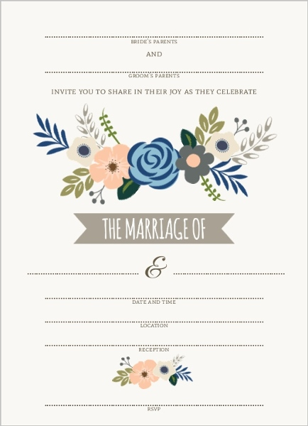 soft blue and taupe floral fill in the blank wedding invitation