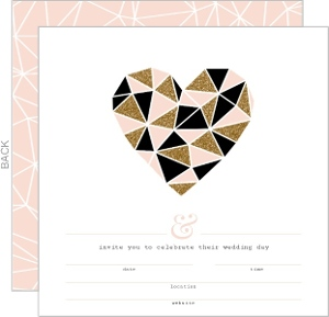 Modern Geometric Glitz Fill In The Blank Wedding Invitation