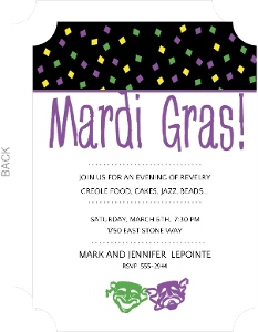 Fancy Mask Mardi Gras Invitation