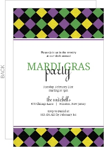 Colorful Diamond Pattern Mardi Gras Invitation