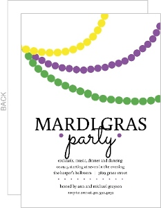Drapping Beads Mardi Gras Invitation