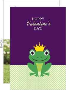 Green And Purple Frog Hoppy Valentine S Day Card