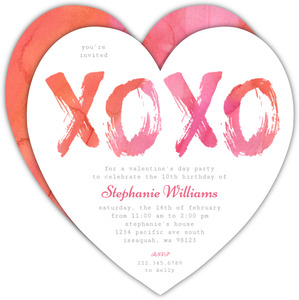 Cross Stitch Floating Hearts Valentines Day Party Invitation