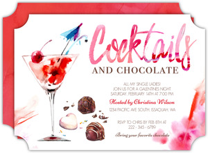 Cocktails and Chocolate Valentines Day Party Invitation