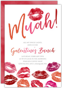 Muah Watercolor Kiss Galentine's Brunch Invitation