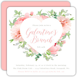 Pink Floral Galentine's Brunch Invitation