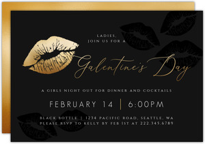 Elegant Faux Gold & Black Galentines Day Invitation
