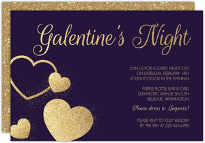 Faux Gold Glitter Galentines Night Invitation