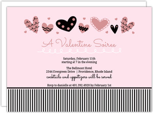 Playful Hearts And Stripes Valentine S Day Party Invitation