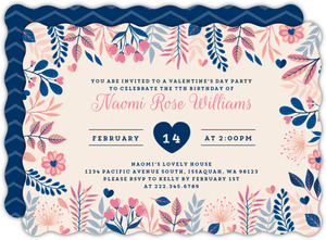 Whimsical Foliage Valentine's Day Birthday Invitation