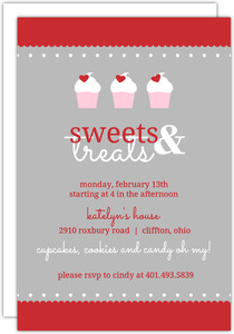 Hearts And Cupcake Treats Valentines Day Party Invitation