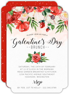 Red Roses Galentine's Day Brunch Invitation