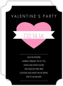 Modern Heart And Banner Valentine S Day Party Invitations