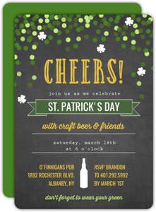 Festive Confetti Cheers St  Patrick s Day Invitation