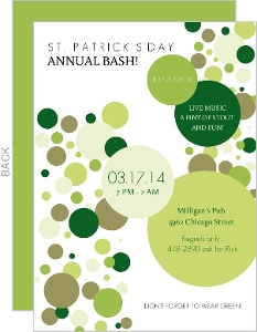 Green Polka Dots St Patrick S Day Invitation