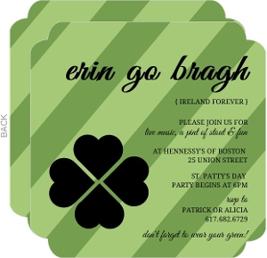 diagonal green stripes st patrick s day invitation