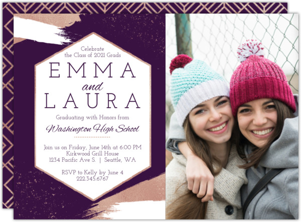 Faux Rose Gold Brushstroke Graduation Invitation