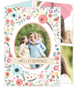 Whimsical Floral Frame Trifold Easter Card