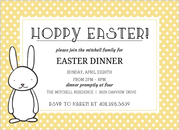 yellow polka dot easter party invitation easter invitations