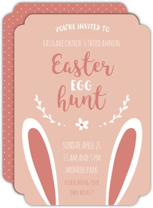 Pink Bunny Ears Easter Egg Hunt Invitation
