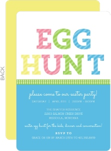 Linen Textured And Checkered Ribbon Easter Party Invitation