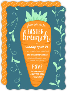Cute Carrot Easter Party Invitation