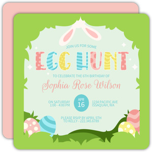 Egg Hunting Easter Birthday Party Invitation