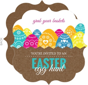 Basket Of Eggs Easter Party Invitation