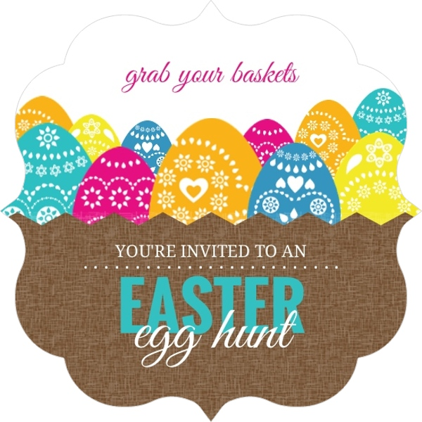 basket of eggs easter party invitation easter invitations