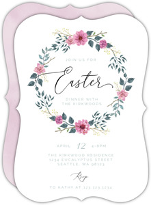 Watercolor Floral Wreath Easter Invitation