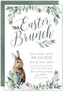 Greenery Watercolor Easter Bunch Invitation