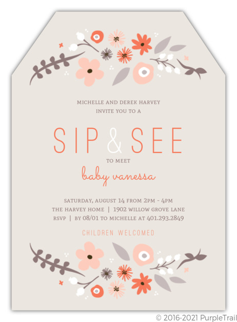 Whimsy Floral Frame Sip See Baby Shower Invitation Gender Neutral