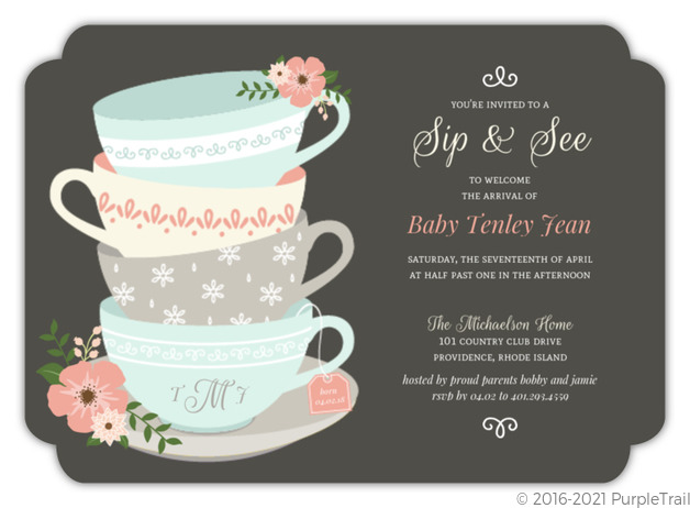 Charming Tea Cups Sip See Baby Shower Invitation