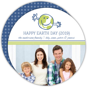 Cute World Open Arms Blue and Green Earth Day Card