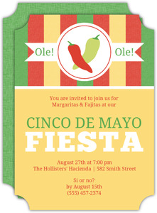 Chili Pepper Monogram Cinco De Mayo Invitation