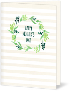 Watercolor Wreath Mothers Day Card