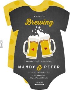 Chalkboard Brewing Beer Couples Baby Shower Invitation