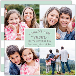 Mint Photo Stripes Mothers Day Card